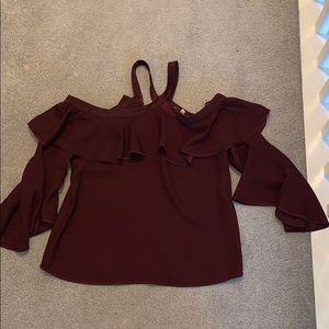 Burgundy halter off the shoulder blouse